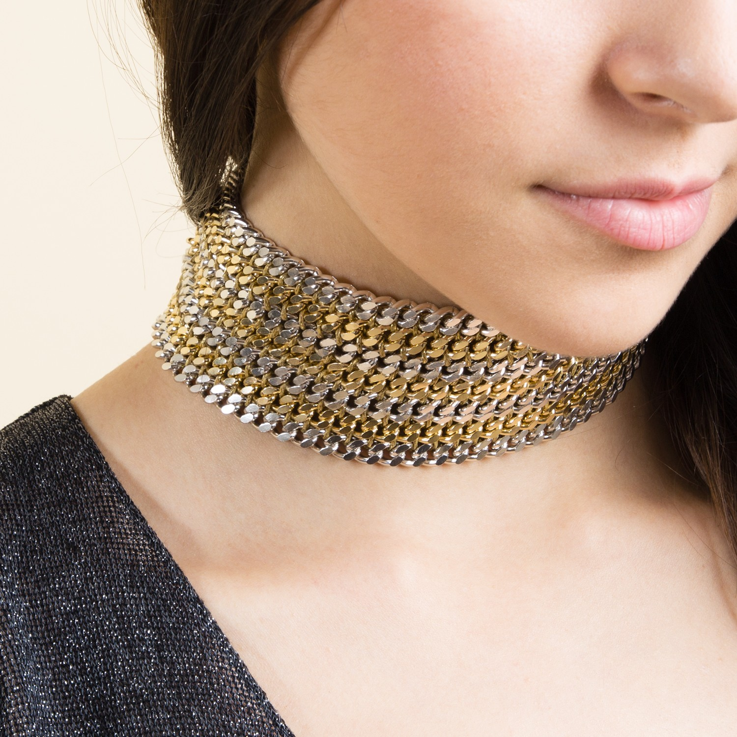 Chain choker silver and gold