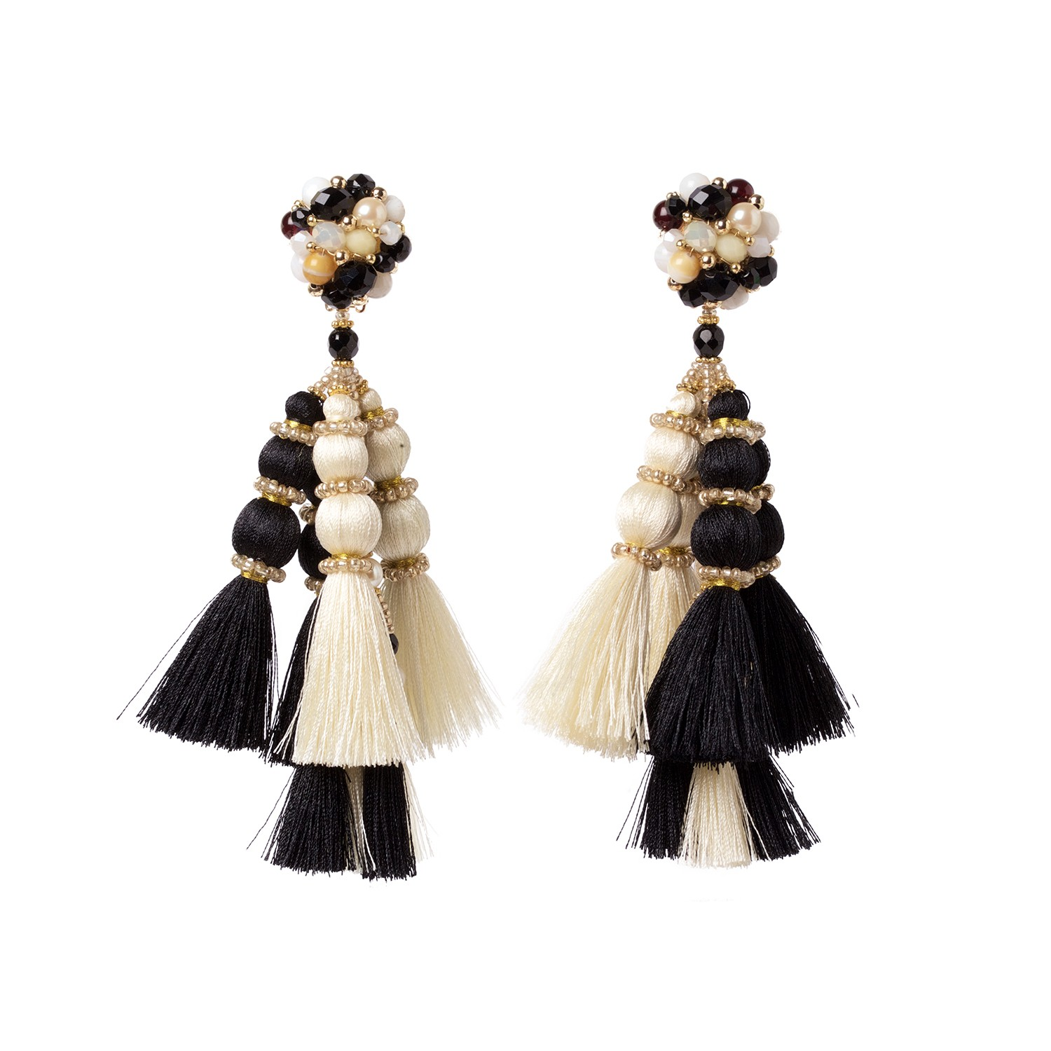 Wayuu princess earrings black and white