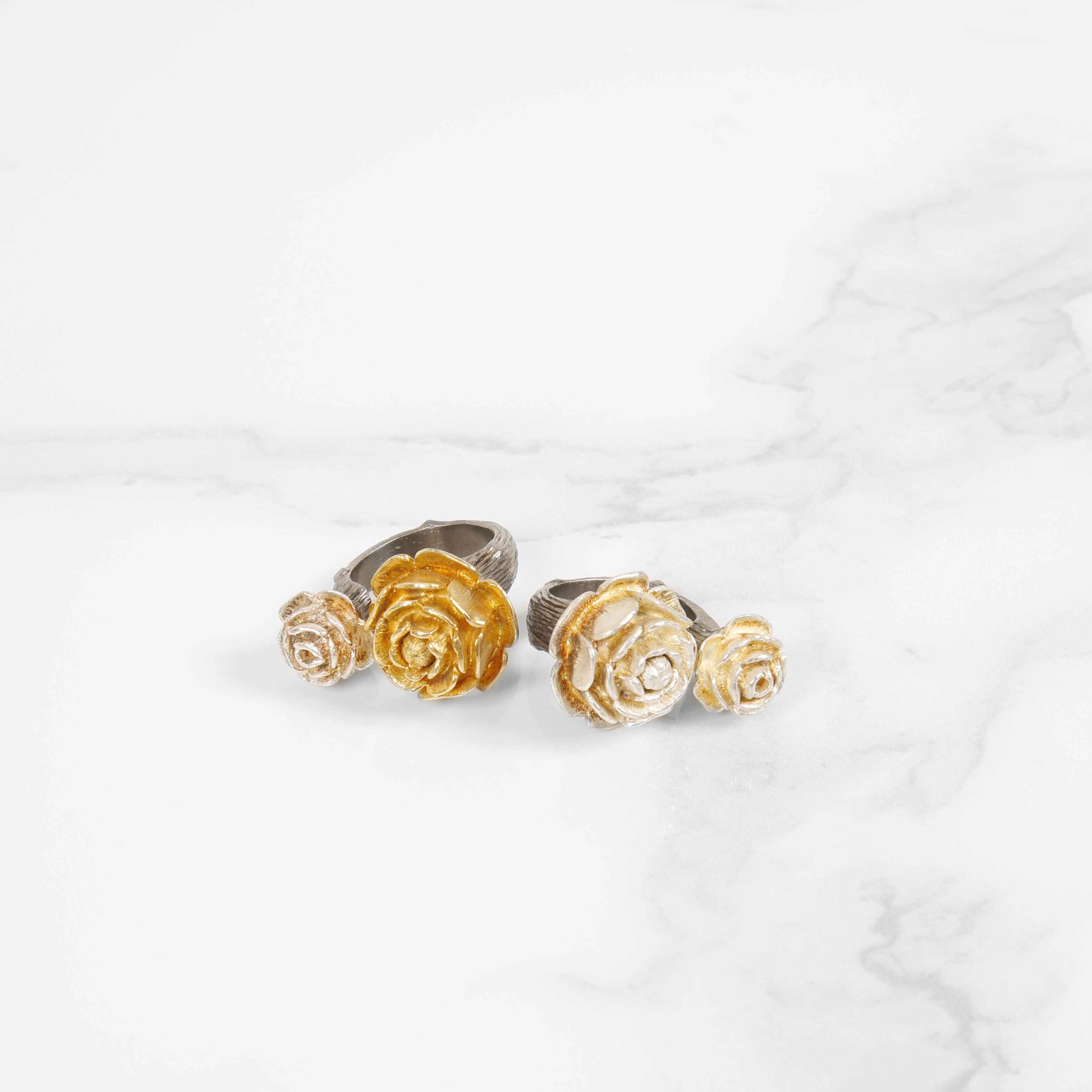 Double rose branch ring