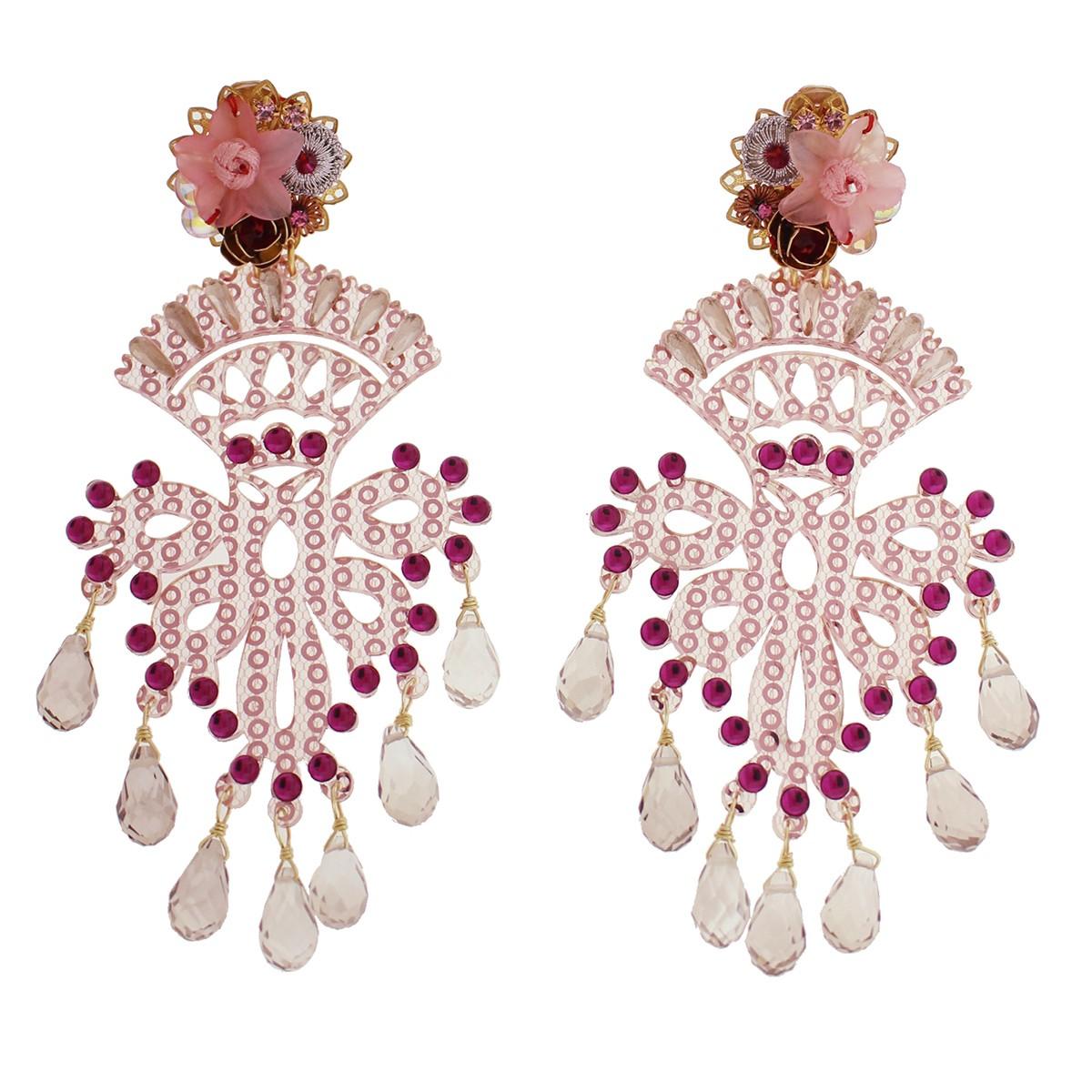 Fiesta Cristales Rosados Earrings