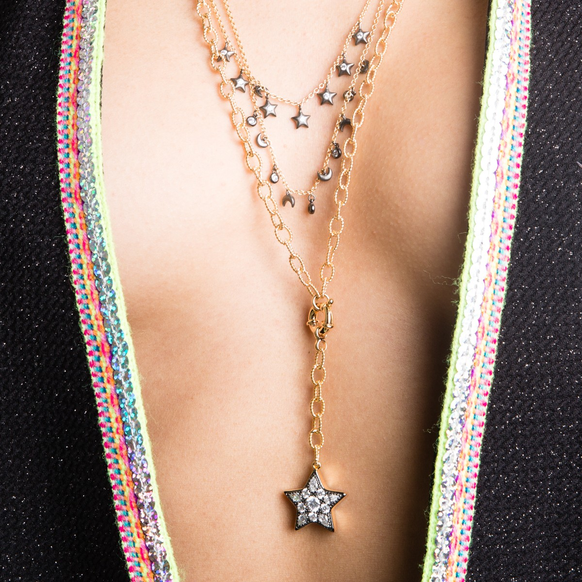 SA'MMA MOON AND STARS MULTI-STRAND NECKLACE