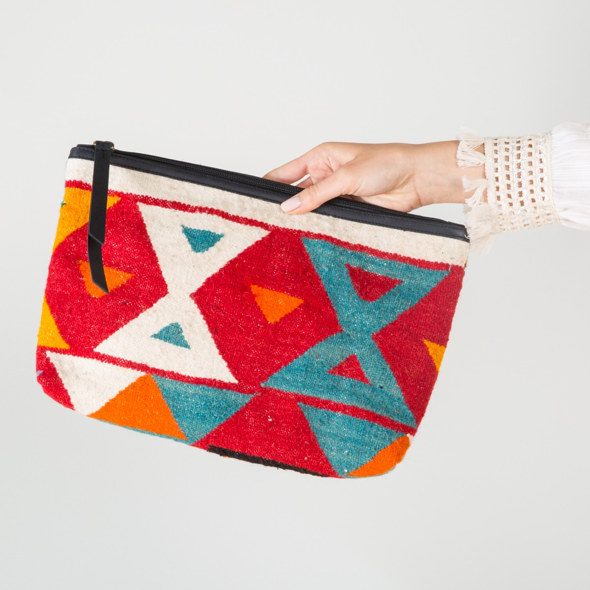 Big white blue Kilim Clutch