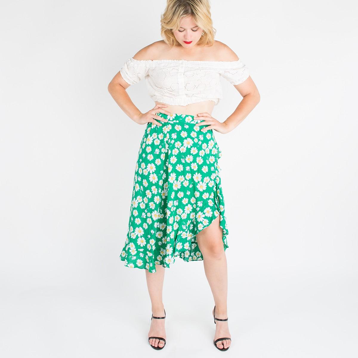 Green daisy skirt