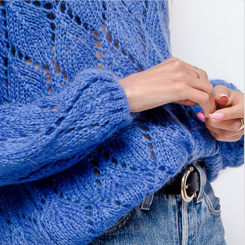 Knitted perforated pullover