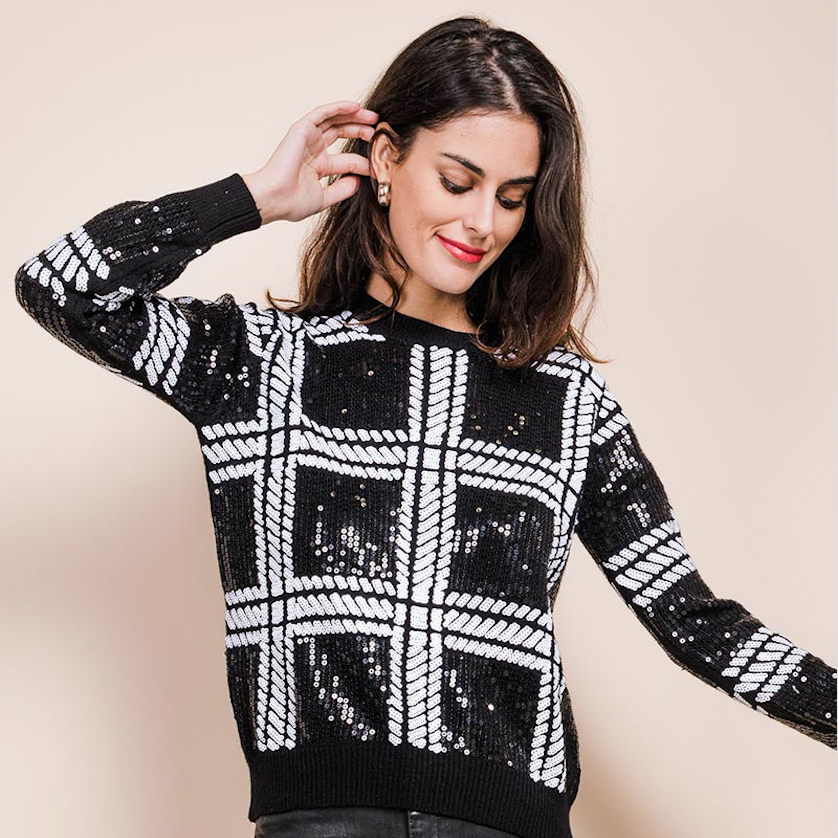 Check Sequin sweater
