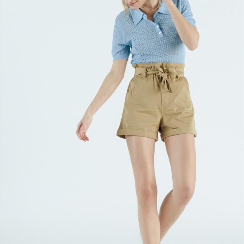 Highrise belted shorts beige