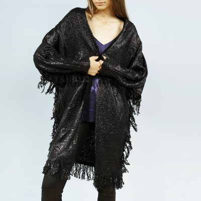 Fringed Black Lacquered Poncho