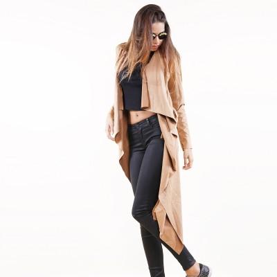 Suedine Coat Dark Beige