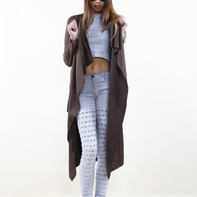 Suedine Coat Brown