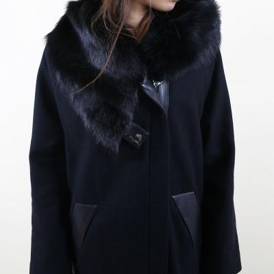 Wool leather fur coat