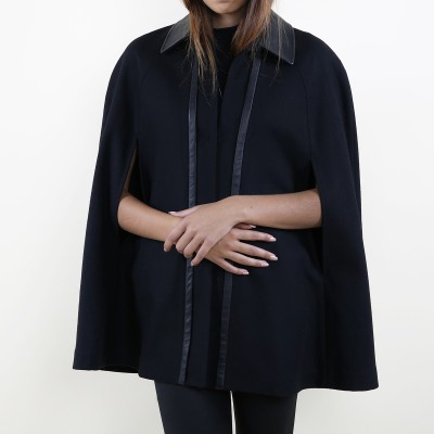 Wool leather cape