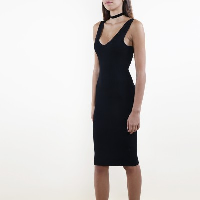 Plunge body con black dress