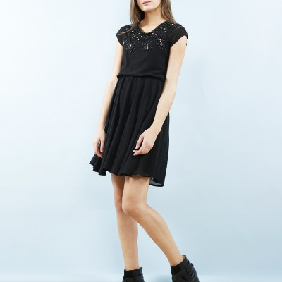 Black beaded chest dress