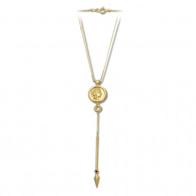 Athena spear necklace gold