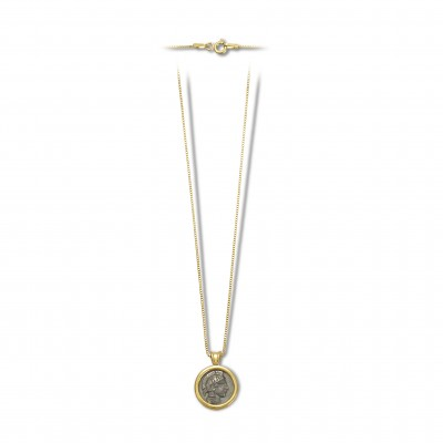 Athena coin necklace black