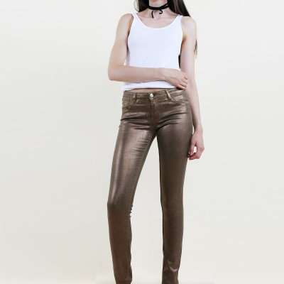 Bronze skinny jeans