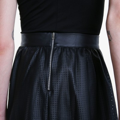 Perforated A line leather skirt