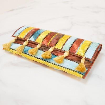 Rainbow raffia clutch