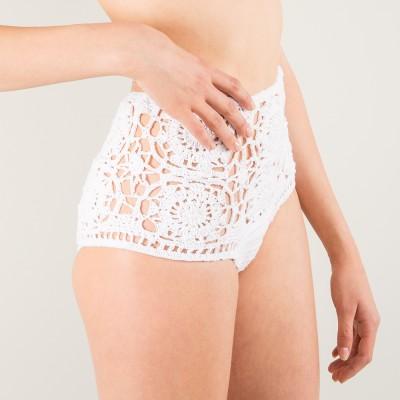 White crochet hi pants