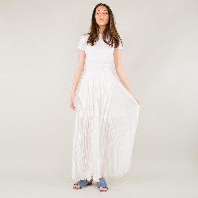 Maxi pleated skirt white