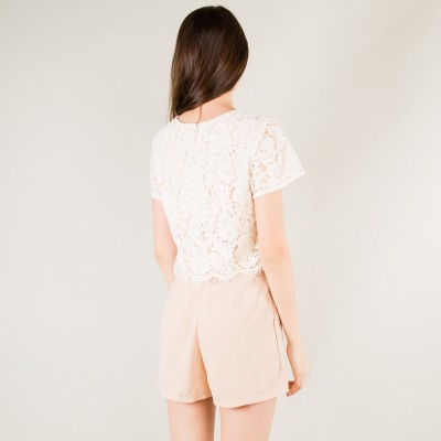 Lace short romper pink