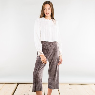 Wide velvet corduroy pants taupe