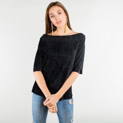 velvet corduroy top black