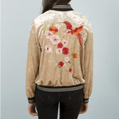 Velvet embroidered bomber