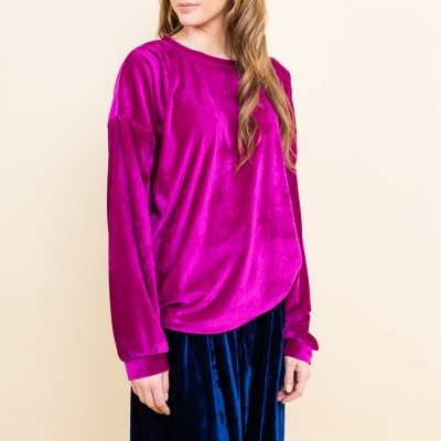 Purple velvet sweater