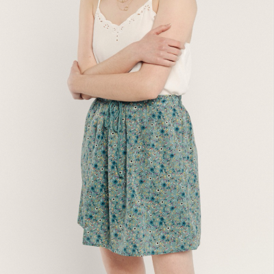 Printed flower skirt green