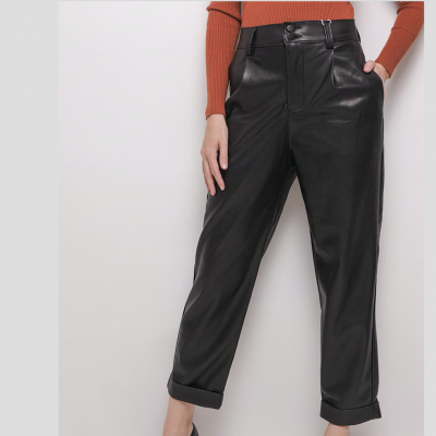 Tailored vegan leather trousers