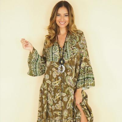 Oversize cachemire print dress