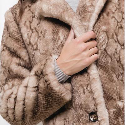 Printed fake fur coat