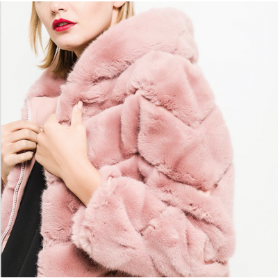 Hooded faux fur jacket pink