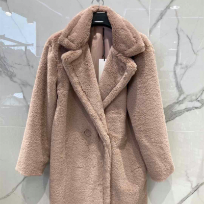 Powder Faux fur coat