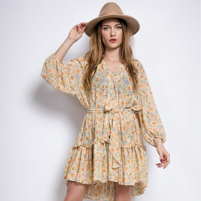 Flowery shirt dress