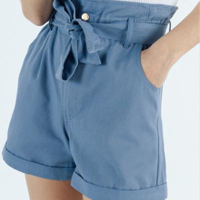 Highrise belted shorts blue