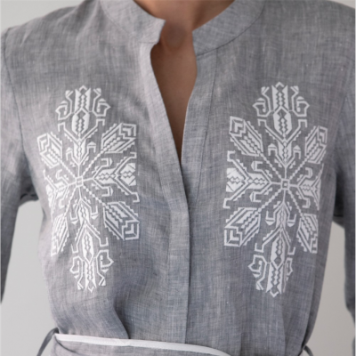 DAREIA EMBROIDERED LONG SHIRT DRESS