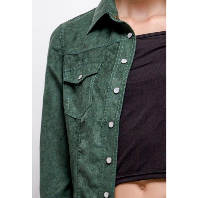 Green suedine shirt